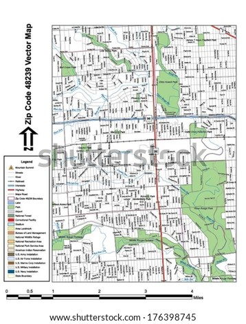 Vector map with summits, rivers, railroads, streets, lakes, parks, airports, stadiums, correctional facilities, military installations and federal lands by zip code 48239 with labels and clean layers. - stock vector