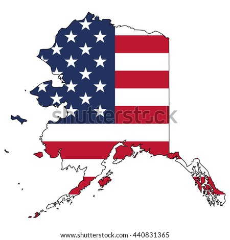 Vector map with US flag inside of Alaska - stock vector