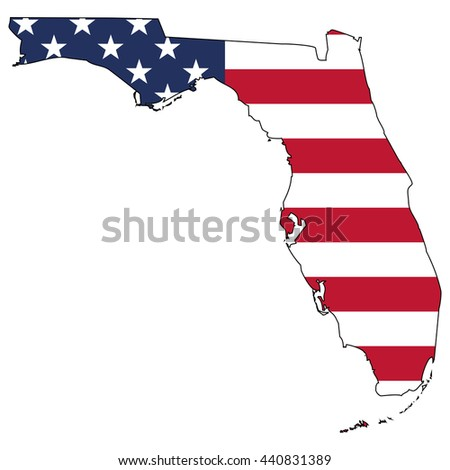 Vector map with US flag inside of Florida - stock vector