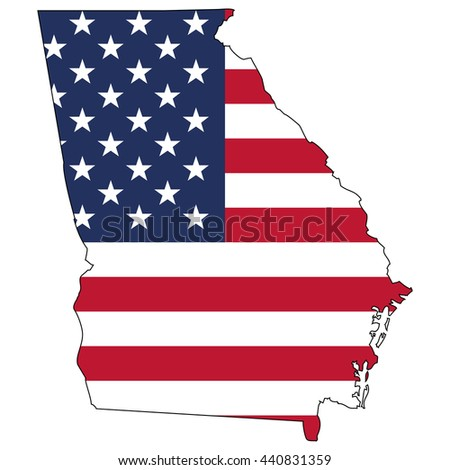 Vector map with US flag inside of Georgia - stock vector