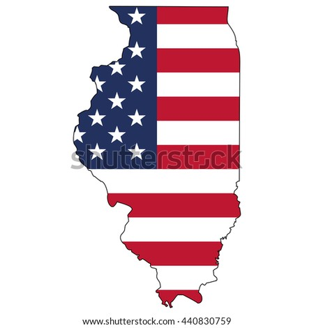 Vector map with US flag inside of Illinois