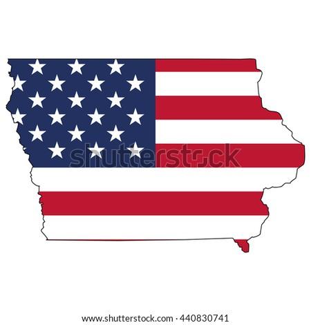Vector Map Us Flag Inside Iowa Stock Vector 440830741 Shutterstock - Iowa Map Of Us