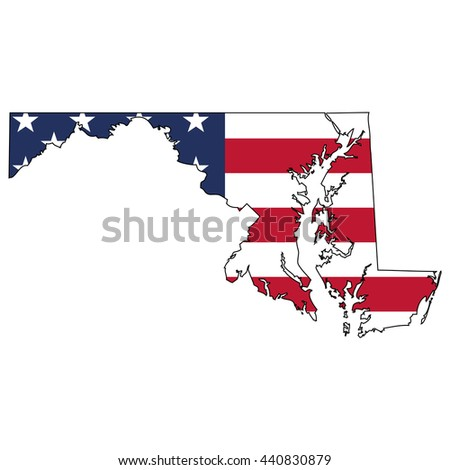 Vector map with US flag inside of Maryland - stock vector