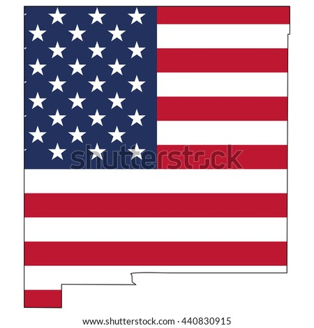 Vector map with US flag inside of New Mexico - stock vector
