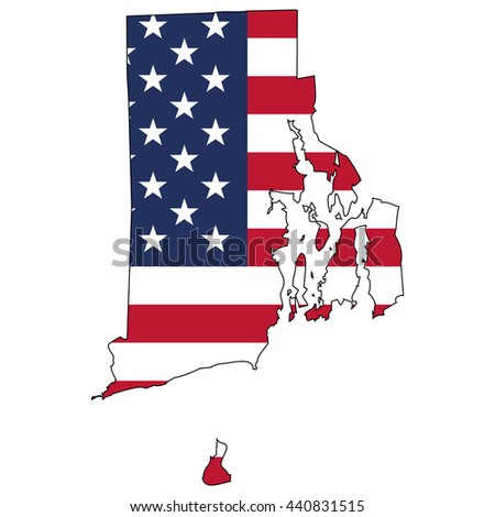 Vector map with US flag inside of Rhode Island - stock vector