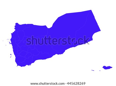 Vector map-yemen country on white background.  Blue color. - stock vector