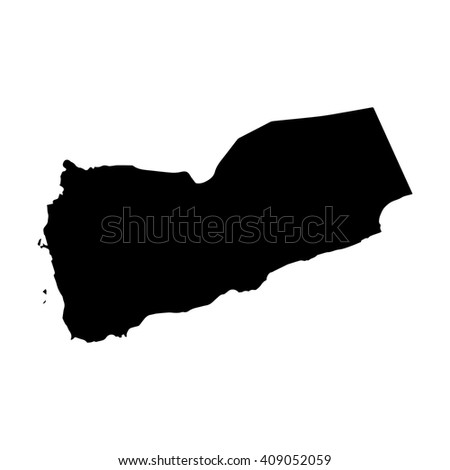 Vector map Yemen. Isolated vector Illustration. Black on White background. EPS 8 Illustration. - stock vector