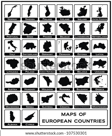 Vector - Maps of European Countries - stock vector