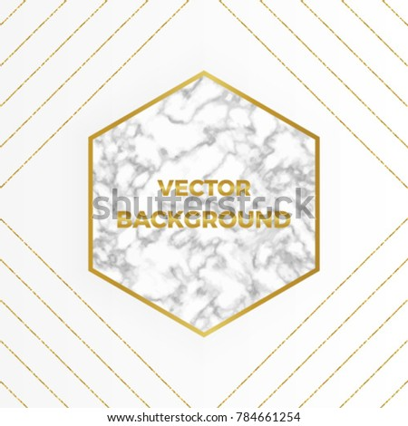 Vector Marble Background With Gold Glitter Lines Geometric Shapes Template For Your Designs