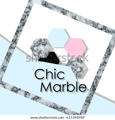Vector marble With a blue geometric background