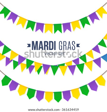 Vector Mardi Gras traditional flags set isolated on white background - stock vector
