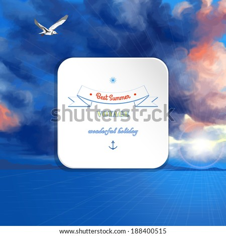 Vector marine background. Overcast sky painted oil pastel. The sun shines through the clouds, flying seagull and sea. Decorative elements, tape, anchor, sun. Square frame for your text. - stock vector
