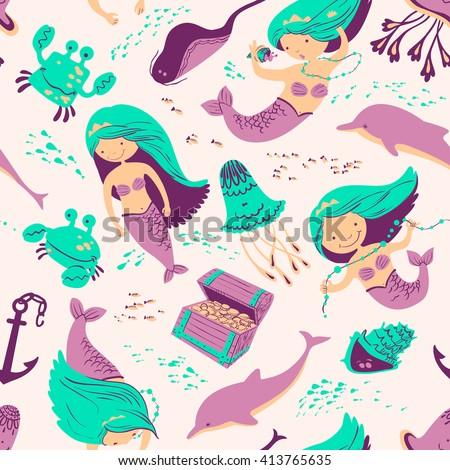 Vector marine seamless background with mermaid and underwater inhabitants - stock vector