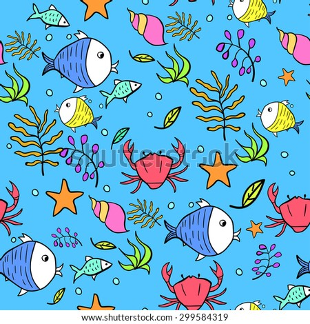 Vector Marine seamless pattern