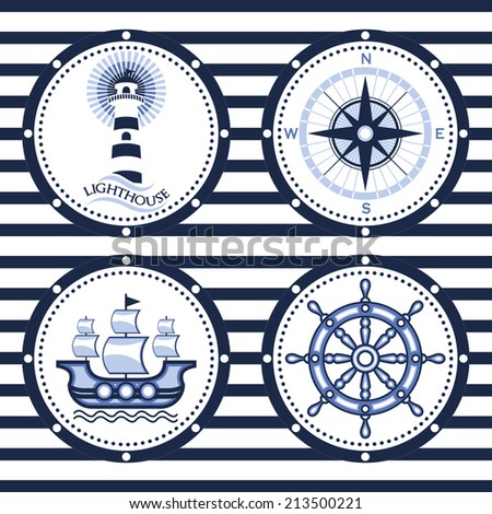 Vector marine symbols set on blue and white striped background - stock vector