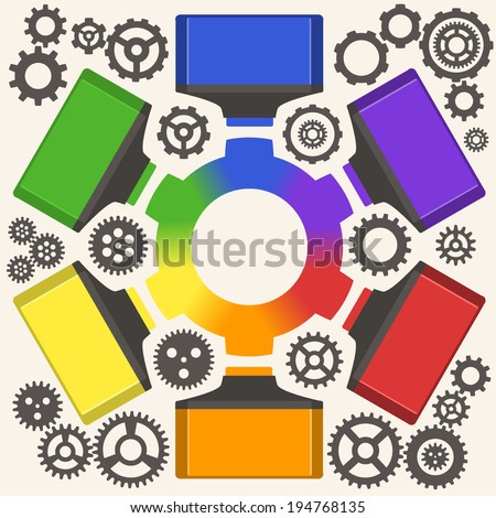 vector markers draws gear - stock vector