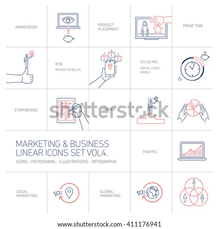vector marketing and business icons set volume four | flat design linear illustration and infographic blue and red isolated on white background