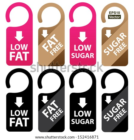 Vector : Marketing Materials For Healthy Food or Dietary Concept Present By Pink, Brown and Black Low Fat, Fat Free, Low Sugar and Sugar Free Tag Isolated on White Background  - stock vector
