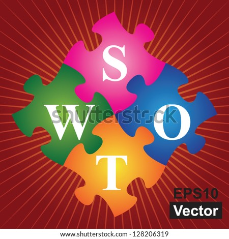 Vector : Marketing or Business Concept Present By Four Pieces of Colorful SWOT Puzzle in Red Shiny Background - stock vector