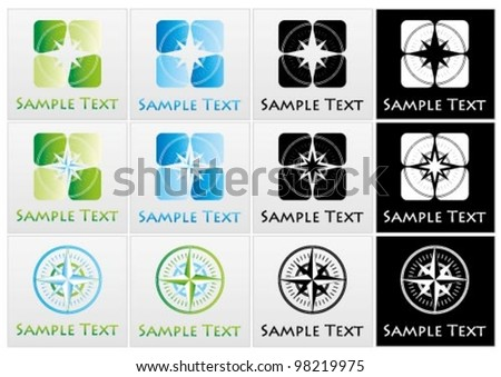 Vector marks incorporating or a compass - stock vector