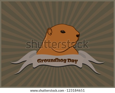 Vector marmot postcard, isolated on white background - stock vector