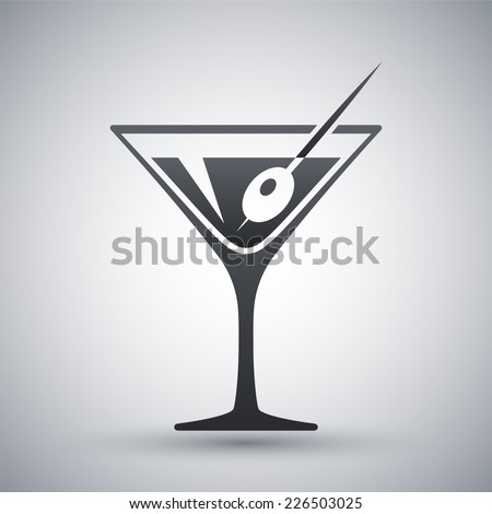 Vector martini glass icon - stock vector