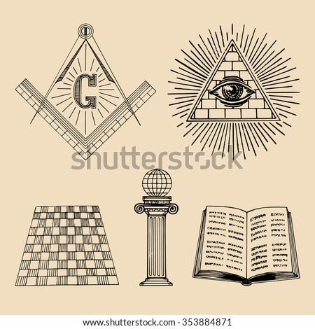 Vector masonic symbols set. Sacred society icons. Freemasonry emblems. Esoteric collection. Mason vector illustrations.  - stock vector