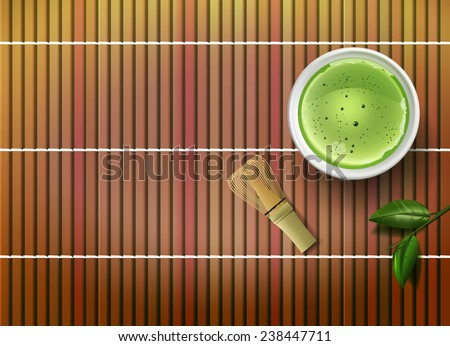 Vector Matcha Tea Concept, Eps10, Gradient Mesh and Transparency Used, Raster version Available - stock vector