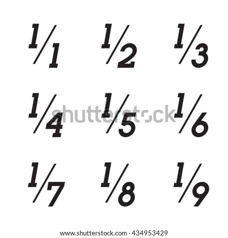Vector Math Fractions Icons on White Background - stock vector