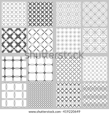 Vector mathematical pattern. The complex geometric pattern. Seamless pattern of thin lines. Black and white monochrome ornament. Set of 16 designs