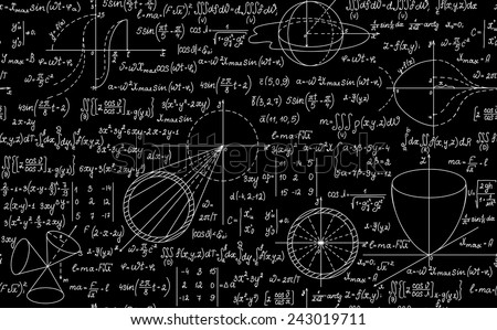 Vector mathematical seamless texture with formulas. You can use any color of background - stock vector