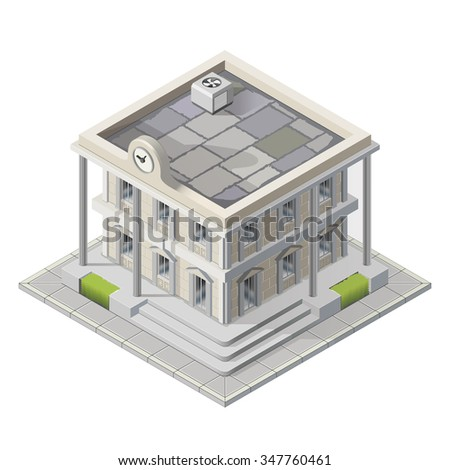 Vector mayoralty isometric building architecture public government buildings - stock vector