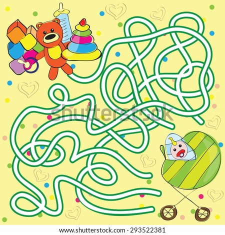 Vector maze for kids - help the baby to get toys - stock vector