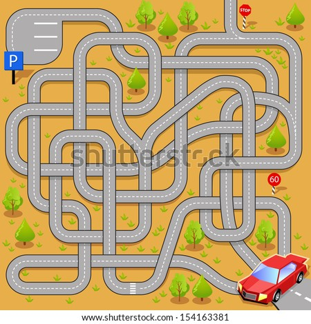 Vector Maze Game: Red Car Find the Way to new Parking. Tangled Roads - stock vector