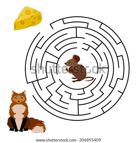Vector Maze, Labyrinth education Game for Children with Mouse, Cheese and Fox. - stock vector