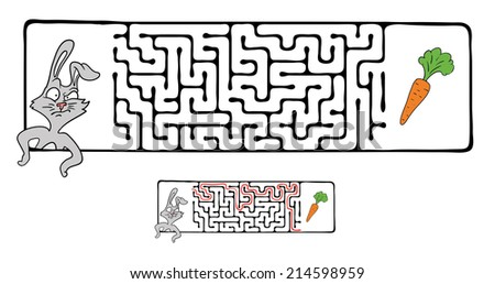 Vector Maze, Labyrinth Game for Children with Rabbit  and Carrot. - stock vector