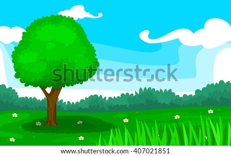 vector meadow illustration with tree and flower field including forest and clear sky background