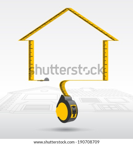 vector Measuring Tapes silhouette home - stock vector