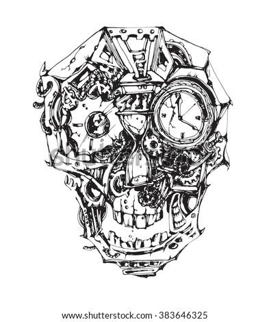 Vector mechanical skull - stock vector