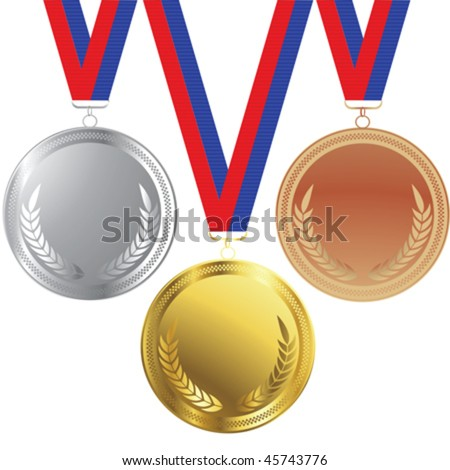 Vector medals set isolated over white background