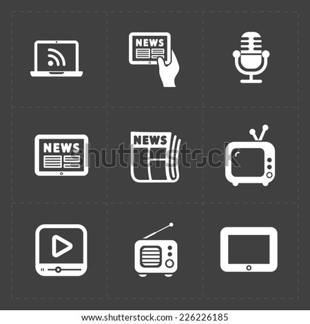 Vector Media Icons set on dark background - stock vector