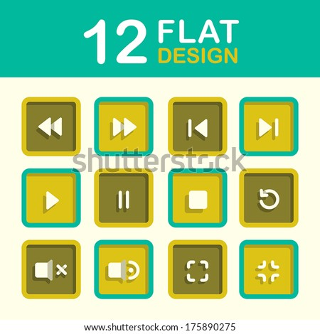 vector media player icon set flat style design - stock vector