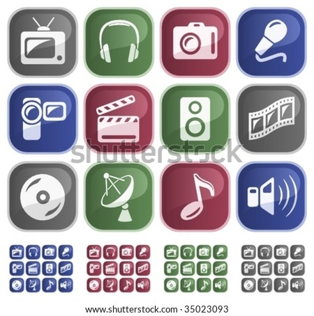 Vector: Media sticky buttons - 4 color versions
