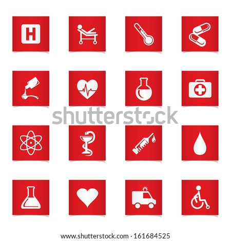 Vector medic icons set. - stock vector