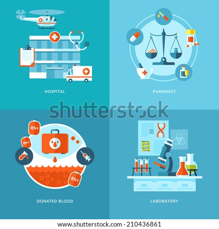 Vector medical and health icons set for web design and mobile apps. Illustration for hospital, pharmacy, blood donation and laboratory. - stock vector