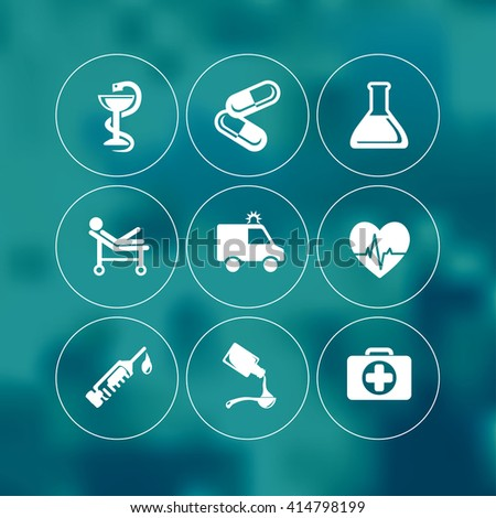 Vector medical and healthcare icons set. - stock vector