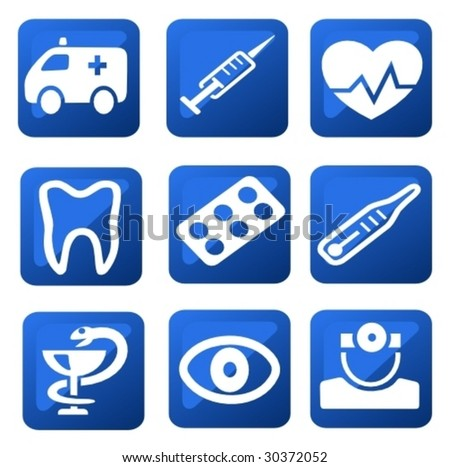 Vector: Medical buttons - stock vector