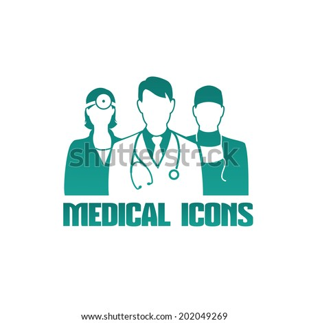 Vector medical icon or logo with 3 different doctors as therapist, surgeon and otolaryngologist, monochrome - stock vector