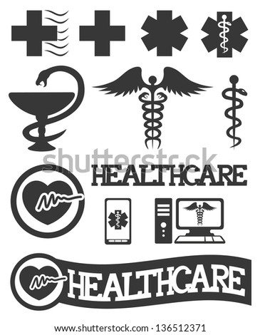 Vector. 12 medical icons. - stock vector
