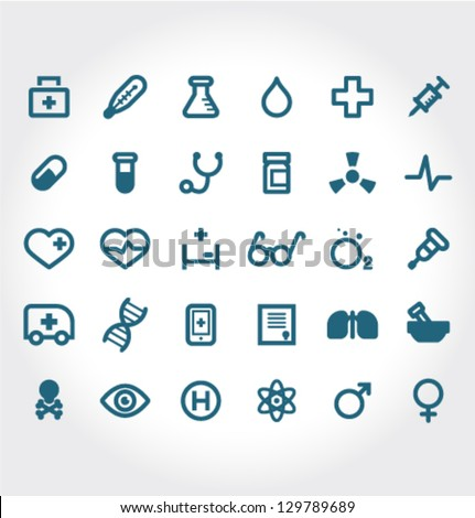 Vector Medical Icons 30 Set - stock vector